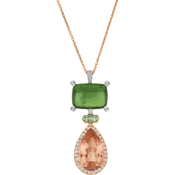 18kt Yellow and Rose Gold and Platinum Green tourmaline and Morganite Pendant