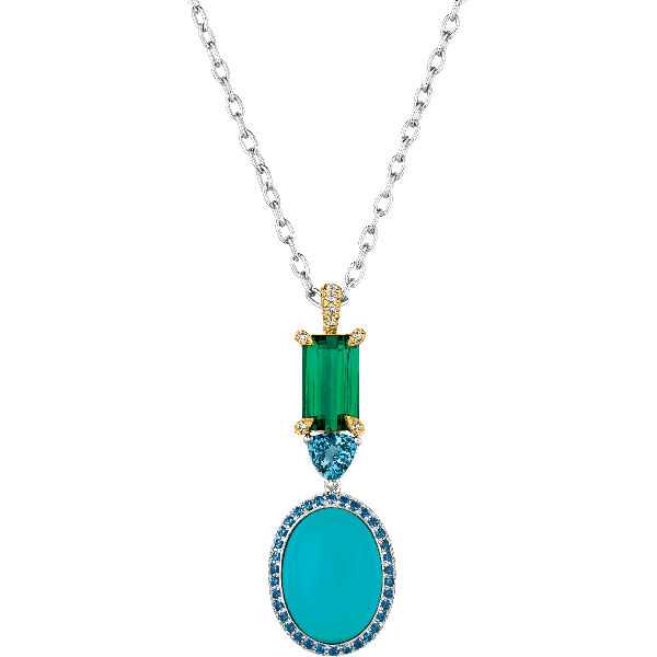 18kt White Gold Cabachon Turquoise and Green Tourmaline Pendant