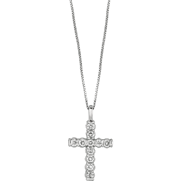 Platinum Gemlok Diamond Small Cross