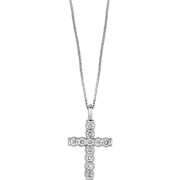 Platinum Gemlok Diamond Small Cross