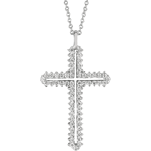 18kt White Gold Prong Set Diamond Cross Pendant
