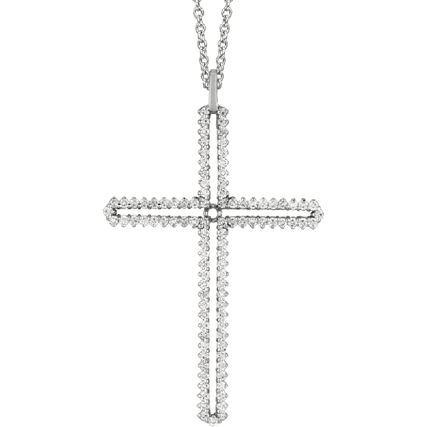 18kt White Prong Set Diamond Cross Pendant