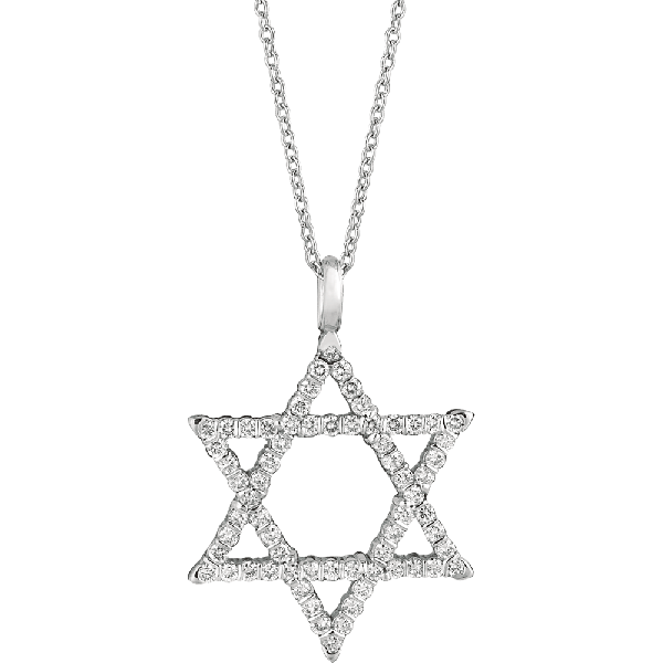 18kt White Gold Prong Set Star of David Pendant