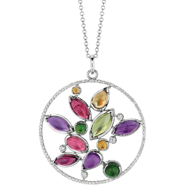 18kt White Gold Diamond and Semi Precious Cabachon Minilok Pendant