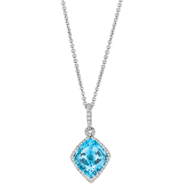 18kt White Gold Pave Set Diamond and Unique Blue Topaz Pendant