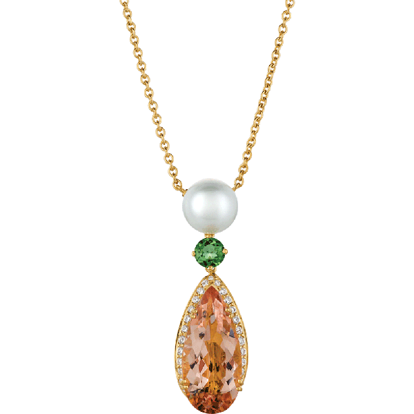 18kt Yellow Gold Pearl and Morganite Drop Pendant