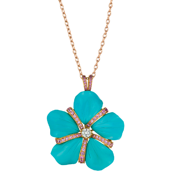 18kt Yellow Gold and Carved Turquoise Flower Pendant