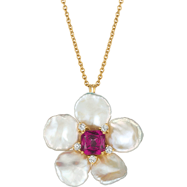 18kt Yellow Gold and Keshi Pearl Flower Pendant