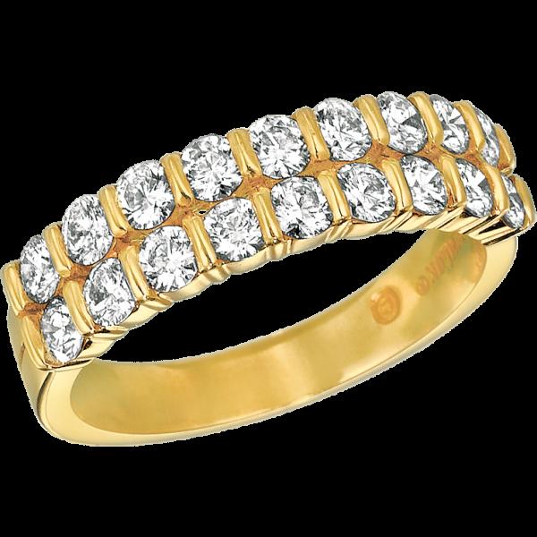 18kt Yellow Gold Gemlok 2 Row Ring