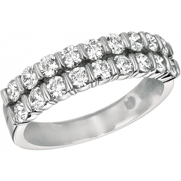 Platinum Gemlok 2 Row Diamond Ring
