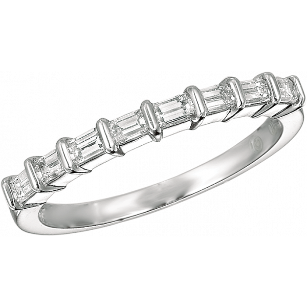 Platinum Gemlok Emerald Cut 8 Stone Ring