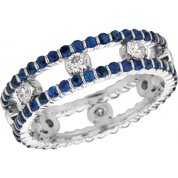 18kt White Gold Minilok Diamond and Sapphire 2 Row Dot Ring