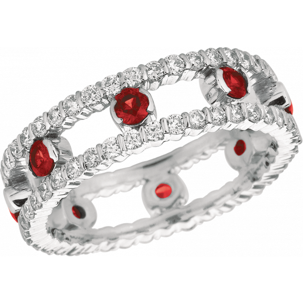 18kt White Gold Minilok 2 Row Diamond and Ruby Dot Ring