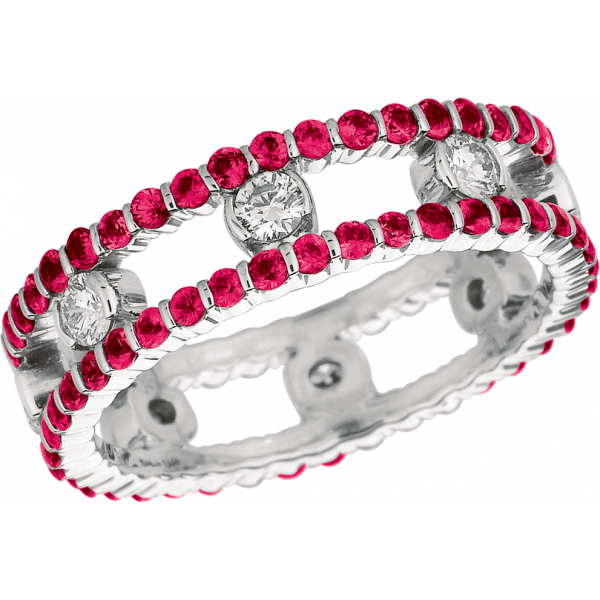 18kt White Gold Minilok 2 Row Diamond and Pink Sapphire Ring