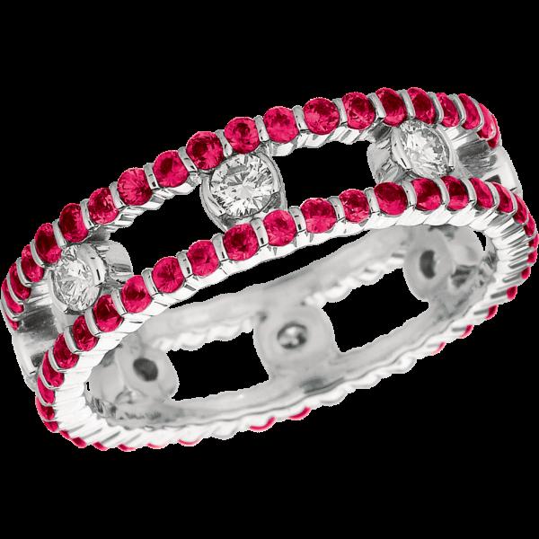 18kt White Gold Minilok 2 Row Diamond and Pink Sapphire Ring