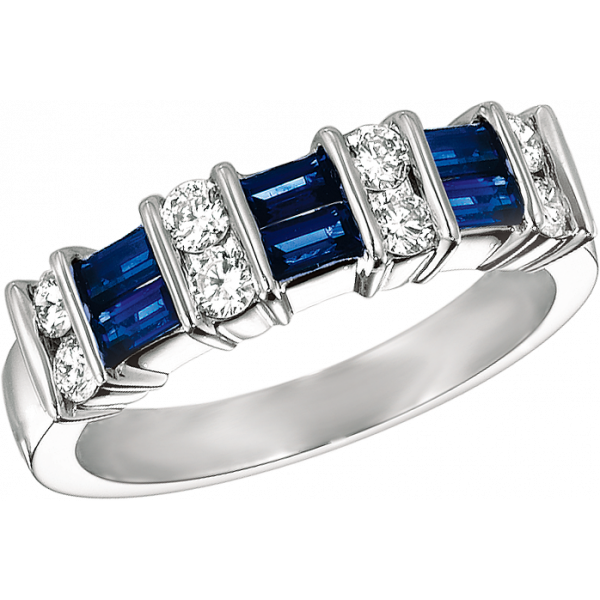 Platinum Gemlok 2 Row Baguette and Round Diamond and Sapphire Ring