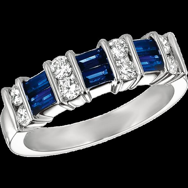 Platinum Gemlok 2 Row Baguette and Round Diamond and Sapphire Ring