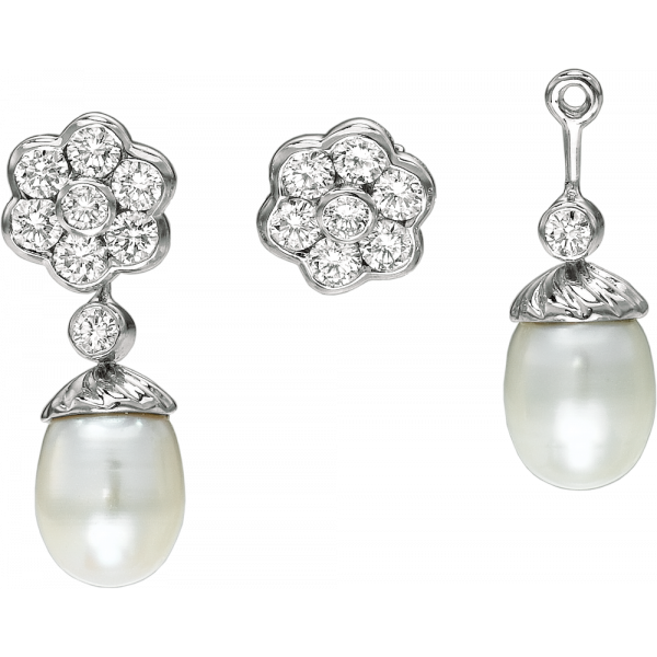 18kt White Gold Petite Fleures Diamond Studs with Detachable Pearl Drops