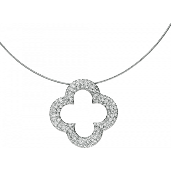 18kt White Gold Pave Set Diamond Large Clover Pendant