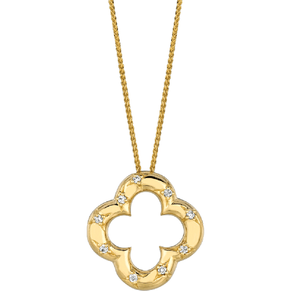 18kt Yellow Gold Diamond Accent Clover Pendant