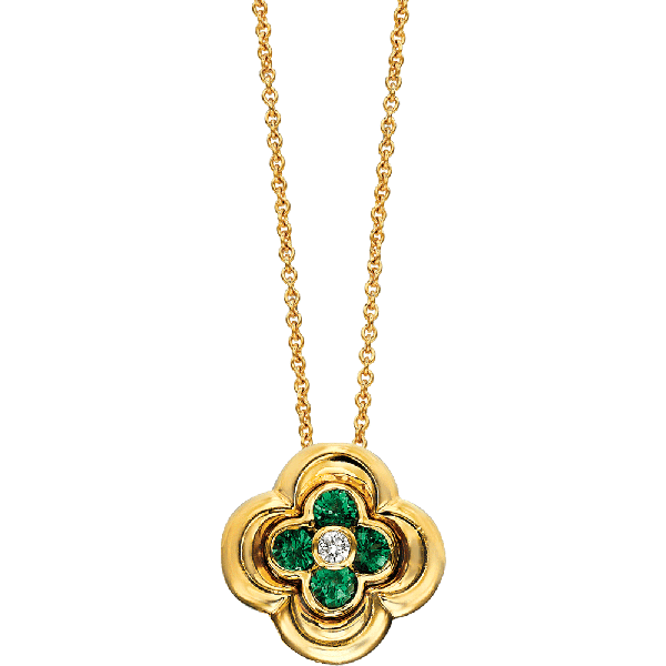 18kt Yellow Gold Mini Clover Tsavorite Pendant