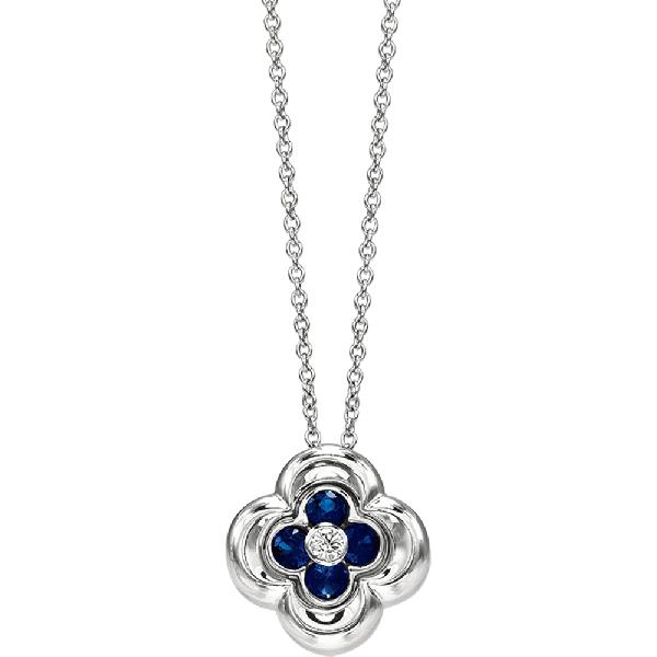 18kt White Gold Mini Clover Sapphire Pendant