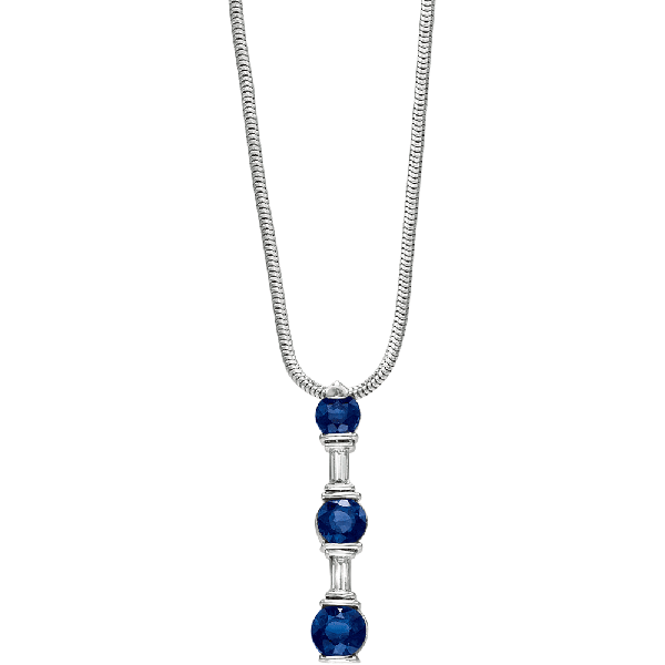 Platinum Gemlok Baguette and Round Sapphire and Diamond Pendant