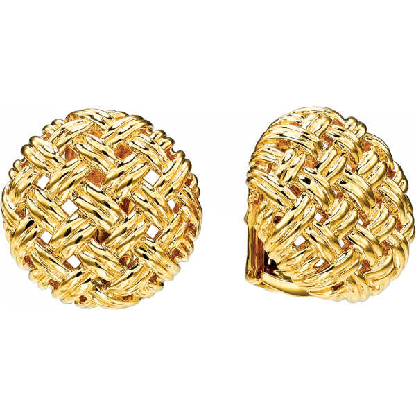 18kt Yellow Gold Vannerie Medium Button Earring
