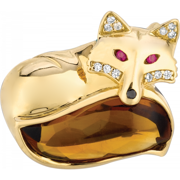 18kt Yellow Gold and Carved Citrine Laying Down Fox