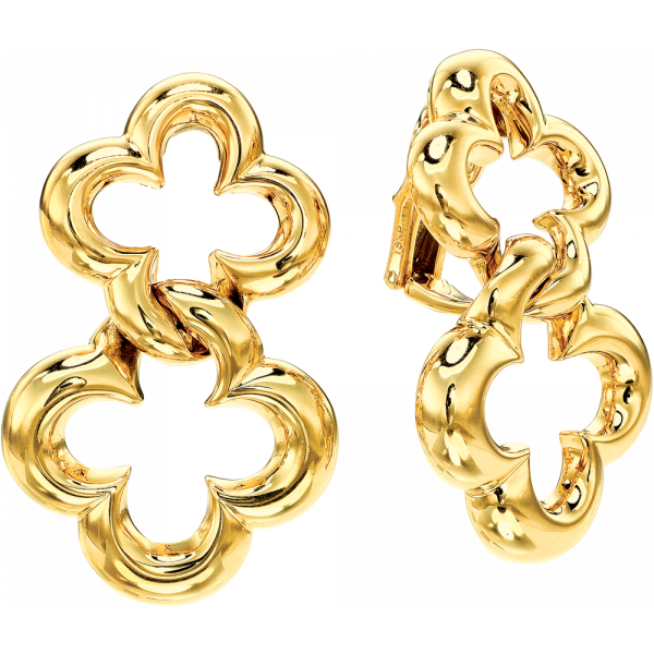 18kt Yellow Gold Clover Double Earring