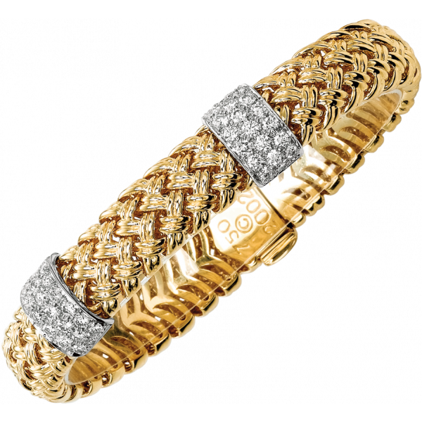 18kt Yellow Gold and Platinum Vannerie Diamond Accent Bracelet