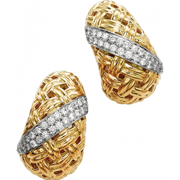 18kt Yellow Gold and Platinum Vannerie Diamond Accent Earring