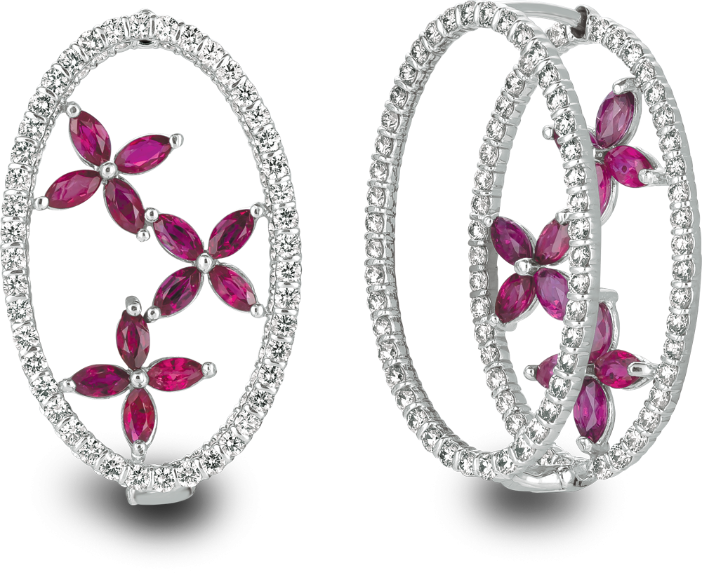 18kt white gold minilok miroir oval earrings with marquis. Black Bedroom Furniture Sets. Home Design Ideas